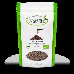Kakao BIO Criollo w kawałkach słodzone BIO syropem yacon